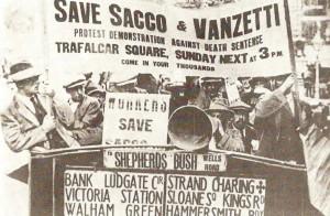 Sacco en Vanzetti protestaankondiging in Londen, 1921.