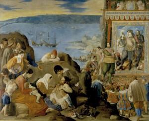 'Herovering van Bahía', Juan Bautista Maíno (1634-1635). Schilderij van de herovering van Salvador de Bahia door de Portugezen op 1 mei 1625, waardoor de Nederlanders zich terugtrokken en daarbij de 13 Potiguares-indianen meenamen.
