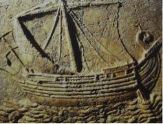 Fenicisch schip; zijkant van een sarcofaag, 2e eeuw na Chr.