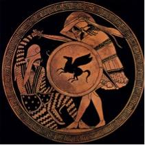 Een Griekse en een Perzische krijger vechten met elkaar. Roodfigurige Attische kylix, 5e eeuw v.Chr.