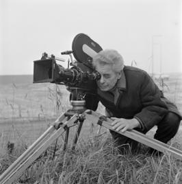 Joris Ivens op de set van 'De Onvergetelijken' in 1971.