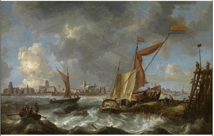 Afbeelding 2. Gezicht op Middelburg in de zeventiende eeuw. Schilderij door Bonaventura Peeters, olieverf op doek. Wikimedia Commons: http://commons.wikimedia.org/wiki/File:Bonaventura_Peeters_%28I%29_-_View_of_Middelburg.jpg