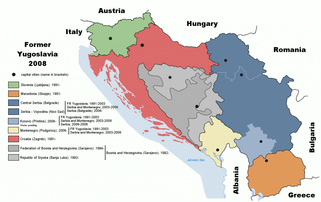 Voormalig Joegoslavië tijdens de crisis. Bron: https://commons.wikimedia.org/wiki/File:Former_Yugoslavia_wartime.png